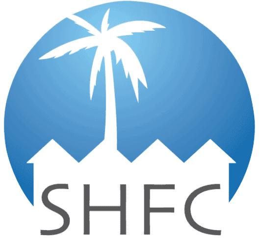 Sarasota Housing Funding Corporation logo, blue circle with white palm tree